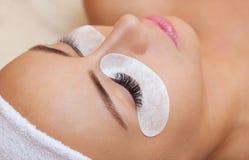 Όμορφη γυναίκα με τα μακροχρόνια eyelashes σε ένα σαλόνι ομορφιάς στοκ φωτογραφία με δικαίωμα ελεύθερης χρήσης
