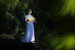 Όμορφη γυναίκα με την παραδοσιακή στάση κοστουμιών πολιτισμού του Βιετνάμ στη γέφυρα Στοκ εικόνες με δικαίωμα ελεύθερης χρήσης