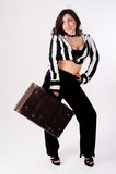 Όμορφη γυναίκα με τη βαλίτσα Στοκ Φωτογραφία