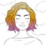 Όμορφη γυναίκα με τη χρωματισμένη τρίχα Hand-drawn διανυσματική απεικόνιση