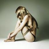 Όμορφη γυναίκα με το ξανθό θαυμάσιο τρίχωμα Στοκ Εικόνες