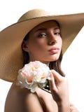 Όμορφη γυναίκα με το λουλούδι Στοκ φωτογραφίες με δικαίωμα ελεύθερης χρήσης
