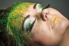 Όμορφη γυναίκα με το πανέμορφο makeup Στοκ Εικόνες