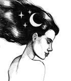 Όμορφη γυναίκα με το φεγγάρι και τα αστέρια Στοκ Φωτογραφία