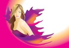 Όμορφη γυναίκα ξανθή με τα πορφυρά φτερά διάνυσμα απεικόνιση αποθεμάτων