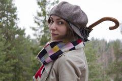 όμορφη γυναίκα ομπρελών Στοκ εικόνα με δικαίωμα ελεύθερης χρήσης