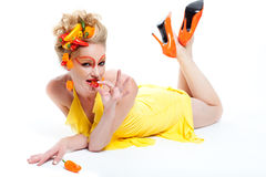 όμορφη γυναίκα πιπεριών Στοκ Εικόνες