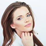 όμορφη γυναίκα πορτρέτου Άσπρη ανασκόπηση Στοκ φωτογραφία με δικαίωμα ελεύθερης χρήσης