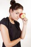 όμορφη γυναίκα πορτρέτου μήλων στοκ εικόνα με δικαίωμα ελεύθερης χρήσης
