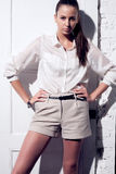 όμορφη γυναίκα πορτρέτου φωτογραφιών μόδας πρότυπη Στοκ εικόνα με δικαίωμα ελεύθερης χρήσης