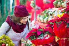 Όμορφη γυναίκα που αγοράζει τις floral συνθέσεις στην αγορά Χριστουγέννων στοκ φωτογραφίες με δικαίωμα ελεύθερης χρήσης