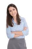 Όμορφη γυναίκα που απομονώνεται επιχειρησιακή πέρα από το λευκό. Στοκ Φωτογραφίες