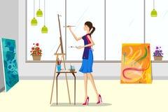 Όμορφη γυναίκα που κάνει τη ζωγραφική καμβά Στοκ Εικόνες