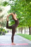 Όμορφη γυναίκα που κάνει τις ασκήσεις γιόγκας στο πάρκο στοκ εικόνα με δικαίωμα ελεύθερης χρήσης