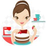 Όμορφη γυναίκα που κατασκευάζει το κέικ με τη φράουλα διάνυσμα απεικόνιση αποθεμάτων