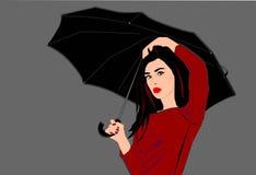 Όμορφη γυναίκα που κρατά την ομπρέλα της διανυσματική απεικόνιση