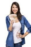 Όμορφη γυναίκα που κρατά τις ευρο- σημειώσεις στοκ φωτογραφία με δικαίωμα ελεύθερης χρήσης