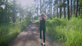 Όμορφη γυναίκα που τρέχει στο ίχνος στο δάσος απόθεμα βίντεο