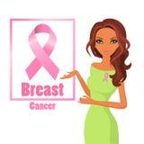 Όμορφη γυναίκα που φορά τις ρόδινες κορδέλλες για να βελτιώσει την πληροφόρηση του καρκίνου του μαστού απεικόνιση αποθεμάτων