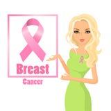Όμορφη γυναίκα που φορά τις ρόδινες κορδέλλες για να βελτιώσει την πληροφόρηση του καρκίνου του μαστού ξανθό τρίχωμα απεικόνιση αποθεμάτων