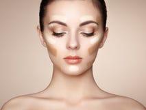 όμορφη γυναίκα προσώπου Τέλειο Makeup Στοκ Εικόνα