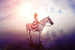Όμορφη γυναίκα σε ένα άλογο Αναβάτης πλατών αλόγου, άλογο οδήγησης γυναικών Στοκ εικόνα με δικαίωμα ελεύθερης χρήσης