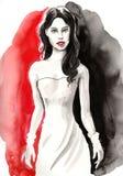 Όμορφη γυναίκα σε ένα κόκκινο και μαύρο υπόβαθρο Στοκ φωτογραφία με δικαίωμα ελεύθερης χρήσης