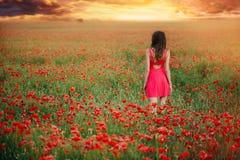Όμορφη γυναίκα σε ένα κόκκινο φόρεμα σε έναν τομέα παπαρουνών στο ηλιοβασίλεμα από τον πίσω, θερμό τονισμό, την ευτυχία και έναν  στοκ εικόνες