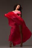 Όμορφη γυναίκα σε ένα μακρύ ρόδινο φόρεμα Στοκ Φωτογραφία