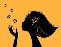 όμορφη γυναίκα σκιαγραφι διανυσματική απεικόνιση