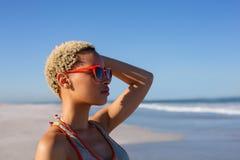 Όμορφη γυναίκα στα γυαλιά ηλίου που κοιτάζει μακριά στην παραλία στην ηλιοφάνεια στοκ φωτογραφία με δικαίωμα ελεύθερης χρήσης