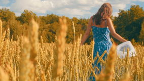 Όμορφη γυναίκα στα τρεξίματα φορεμάτων με το καπέλο στα χέρια πέρα από τον τομέα του χρυσού σίτου απόθεμα βίντεο