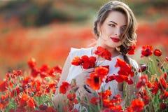 Όμορφη γυναίκα στον τομέα των λουλουδιών παπαρουνών, χρόνος άνοιξη Στοκ Εικόνα