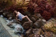 Όμορφη γυναίκα στο δάσος νεράιδων Στοκ Εικόνες