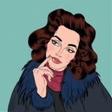Όμορφη γυναίκα στο λαϊκό ύφος Comics τέχνης ελεύθερη απεικόνιση δικαιώματος