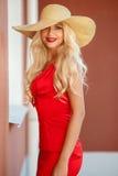 Όμορφη γυναίκα στο καπέλο αχύρου με το μεγάλο χείλο στοκ εικόνες με δικαίωμα ελεύθερης χρήσης