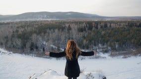 Όμορφη γυναίκα στο κλίμα της χιονισμένης φύσης, οπισθοσκόπο απόθεμα βίντεο