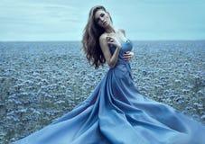 Όμορφη γυναίκα στο φόρεμα νύχτας υπαίθριο Στοκ Φωτογραφία