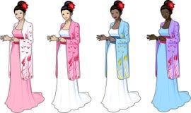 Όμορφη γυναίκα στο japaneese-ορισμένο γαμήλιο φόρεμα Στοκ εικόνα με δικαίωμα ελεύθερης χρήσης