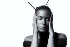 Όμορφη γυναίκα της Zen Υψηλό γραπτό πορτρέτο μόδας Στοκ φωτογραφίες με δικαίωμα ελεύθερης χρήσης
