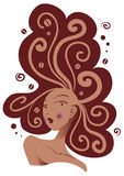 όμορφη γυναίκα τριχώματος καφέ Στοκ εικόνα με δικαίωμα ελεύθερης χρήσης