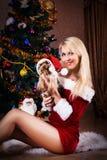 Όμορφη γυναίκα Χριστουγέννων με το τεριέ του Γιορκσάιρ κοντά στο χριστουγεννιάτικο δέντρο Στοκ φωτογραφία με δικαίωμα ελεύθερης χρήσης