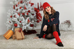όμορφη γυναίκα όπως η ανασκόπηση είναι μπορεί θέμα απεικόνισης Χριστουγέννων χρησιμοποιούμενο Στοκ Φωτογραφία