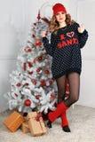 όμορφη γυναίκα όπως η ανασκόπηση είναι μπορεί θέμα απεικόνισης Χριστουγέννων χρησιμοποιούμενο Στοκ φωτογραφίες με δικαίωμα ελεύθερης χρήσης