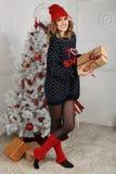 όμορφη γυναίκα όπως η ανασκόπηση είναι μπορεί θέμα απεικόνισης Χριστουγέννων χρησιμοποιούμενο Στοκ Εικόνα