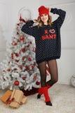 όμορφη γυναίκα όπως η ανασκόπηση είναι μπορεί θέμα απεικόνισης Χριστουγέννων χρησιμοποιούμενο Στοκ Εικόνες