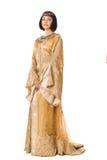 Όμορφη γυναίκα όπως την αιγυπτιακή βασίλισσα Κλεοπάτρα απομονωμένο στο λευκό υπόβαθρο Στοκ Εικόνες