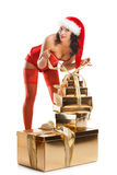 όμορφη γυναίκα santa καπέλων Χρ&i Στοκ εικόνα με δικαίωμα ελεύθερης χρήσης