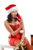 όμορφη γυναίκα santa καπέλων Χρ&i Στοκ φωτογραφία με δικαίωμα ελεύθερης χρήσης