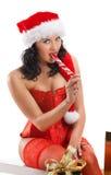όμορφη γυναίκα santa καπέλων Χρ&i Στοκ Φωτογραφία